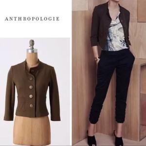Anthropologie Cartonnier Green Cropped Jacket